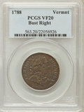 Colonials: , 1788 COPPER Vermont Copper, Bust Right VF20 PCGS. PCGS Population(32/75). NGC Census: (4/22). (#563)...