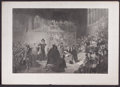 Prints, TRIAL OF KING CHARLES 1ST IN WESTMINSTER HALL . 1649. 28-1/2x 42 inches (72.4 x 106.7 cm). Engraved by Wagstaff. Elto...