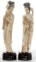 Asian, TWO CHINESE CARVED IVORY FIGURES . Circa 1900. 13-1/2 inches high(34.3 cm) (taller including stand). ... (Total: 2 Items)