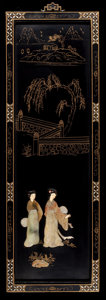 Asian:Chinese, A CHINESE LACQUER AND HARDSTONE PANEL . 20th century . 36 incheshigh x 12 inches wide (91.4 x 30.5 cm). ...