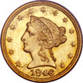 Liberty Quarter Eagles, 1846-C $2 1/2 MS64 PCGS. Variety 1....