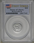 Modern Bullion Coins: , 2005 $10 Tenth-Ounce Platinum MS70 PCGS. First Strike. PCGSPopulation (28/0). NGC Census: (0/0). (#21108)...