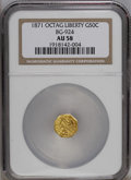 California Fractional Gold: , 1871 50C Liberty Octagonal 50 Cents, BG-924, R.3, AU58 NGC. PCGSPopulation (31/149). (#10782)...