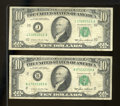 Error Notes:Ink Smears, Fr. 2027-B, J $10 1985 Federal Reserve Notes. Fine. Both of theseTens display a green ink smear on the back.. ... (Total: 2 notes)