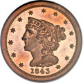 Proof Braided Hair Half Cents, 1843 1/2 C Original PR65 Red PCGS. B-1, R.6....