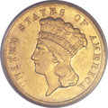 Three Dollar Gold Pieces, 1854-D $3 AU55 PCGS Secure. Variety 1-A....