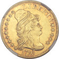 Early Half Eagles, 1795 $5 Small Eagle MS61 NGC. BD-8, High R.5....