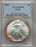 Modern Bullion Coins: , 2001 $1 Silver Eagle MS68 PCGS. PCGS Population (2924/20477). NGCCensus: (577/81465). Numismedia Wsl. Price for problem f...