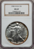 Modern Bullion Coins: , 1988 $1 Silver Eagle MS69 NGC. NGC Census: (77536/187). PCGSPopulation (4577/1). Mintage: 5,004,646. Numismedia Wsl. Price...