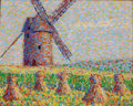 Fine Art - Painting, American:Contemporary   (1950 to present)  , MARY BREWER (American, b. 1911). Landscape with Hay Stacks andWindmill. Oil on canvas board. 8-1/2 x 10-1/2 inches (21....