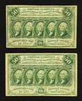 Fractional Currency:First Issue, Two Fr. 1312 50¢ First Issue Notes Fine or Better.. ... (Total: 2 notes)