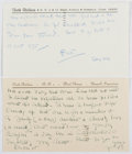 Autographs:Authors, Faith Baldwin (1893-1978, American Writer). Group of Two AutographNotes Signed. Fine....