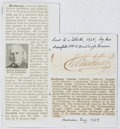 Autographs:Non-American, Charles Bradlaugh (1833-1891, British Politician and SocialReformer). Clipped Signature. Very good....