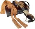 Military & Patriotic:WWI, Beautiful Army Officer's Dress Belt, Buckle and Sash in a JapannedTin Box. ...