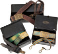 Militaria:Uniforms, Lot of Three U.S. Army Officer's Belts and Buckles in the Japanned Storage Boxes. ... (Total: 3 )
