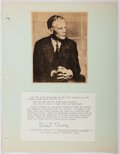 Autographs:Inventors, Stuart Chase (1888-1985, American Economist). Signed Excerpt.Mounted to paper. Very good....