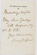 Autographs:Authors, Lucy Clifford (1846-1929, British Children's Writer). Autograph Letter Signed. Very good....