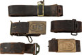 Military & Patriotic:Indian Wars, Group of Indian Wars Leather Belts.... (Total: 5 Items)
