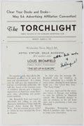 Autographs:Artists, Louis Bromfield (1896-1956, American Writer). Signature onTorchlight Program. Very good....