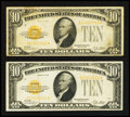 Small Size:Gold Certificates, Fr. 2400 $10 1928 Gold Certificates. Two Examples. Very Fine or Better.. ... (Total: 2 notes)