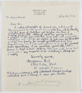 Autographs:U.S. Presidents, Herbert Hoover (1874-1964, 31st President of the United States). Signature, Placed In Lower Margin of Charming Request Letter....