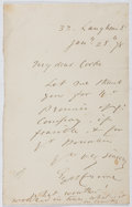 Autographs:Artists, Eyre Crowe (18241-1910, British Painter). Autograph Letter Signed.Very good....