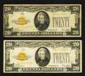 Small Size:Gold Certificates, Fr. 2402 $20 1928 Gold Certificates. Two Examples. Fine or Better.. ... (Total: 2 notes)