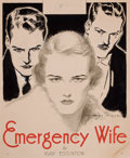 Pulp, Pulp-like, Digests, and Paperback Art, BENJAMIN MORAN DALE (American, 1889-1951). The Emergency Wife,alternative paperback cover. Conte crayon and gouache on ...