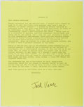Autographs:Authors, Jack Vance (1916- , American Writer). Typed Letter Signed by DennisMcMillan, Publisher. Envelope included. Very good....