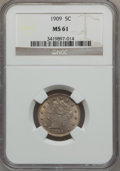 Liberty Nickels: , 1909 5C MS61 NGC. NGC Census: (16/312). PCGS Population (8/446).Mintage: 11,590,526. Numismedia Wsl. Price for problem fre...