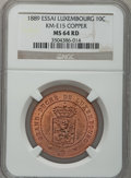 Luxembourg, Luxembourg: Willem III of the Netherlands 10 Centimes copper Essai1889,...