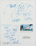 Autographs:Authors, Ray Bradbury (1920-2012, American Science Fiction Writer). Group of Two Signed and Inscribed Cards. Fine....