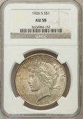 Peace Dollars: , 1926-S $1 AU58 NGC. NGC Census: (253/4502). PCGS Population(308/5900). Mintage: 6,980,000. Numismedia Wsl. Price for probl...