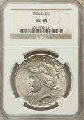Peace Dollars: , 1926-D $1 AU58 NGC. NGC Census: (172/2715). PCGS Population(212/4505). Mintage: 2,348,700. Numismedia Wsl. Price for probl...