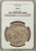 Peace Dollars: , 1928-S $1 XF45 NGC. NGC Census: (55/4271). PCGS Population(117/5630). Mintage: 1,632,000. Numismedia Wsl. Price for proble...