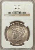 Peace Dollars: , 1927 $1 AU58 NGC. NGC Census: (297/3926). PCGS Population(432/5523). Mintage: 848,000. Numismedia Wsl. Price for problemf...
