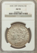 Morgan Dollars: , 1878 7/8TF $1 Strong AU55 NGC. NGC Census: (46/3680). PCGSPopulation (37/5448). Mintage: 544,000. Numismedia Wsl. Price fo...