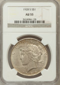 Peace Dollars: , 1928-S $1 AU55 NGC. NGC Census: (207/3882). PCGS Population(215/5150). Mintage: 1,632,000. Numismedia Wsl. Price for probl...
