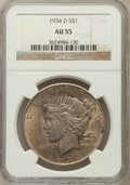 Peace Dollars: , 1934-D $1 AU55 NGC. NGC Census: (162/3754). PCGS Population(264/4829). Mintage: 1,569,500. Numismedia Wsl. Price for probl...