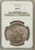 Peace Dollars: , 1927 $1 AU55 NGC. NGC Census: (81/4223). PCGS Population(197/5955). Mintage: 848,000. Numismedia Wsl. Price for problemfr...