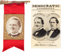 Political:Ferrotypes / Photo Badges (pre-1896), Samuel Tilden: Jugate Ribbon and Clean Sweep Badge.... (Total: 2Items)