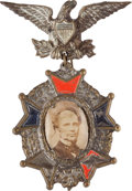 Political:Ferrotypes / Photo Badges (pre-1896), Horatio Seymour: Ornate Enamel Portrait Badge....