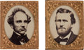 Political:Ferrotypes / Photo Badges (pre-1896), Ulysses S. Grant and Horatio Seymour: Pair of Jumbo Gem Badges....