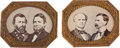 Political:Ferrotypes / Photo Badges (pre-1896), Grant & Colfax and Seymour & Blair: Mounted JugatePhotos....