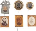 Political:Ferrotypes / Photo Badges (pre-1896), Ulysses S. Grant and Horatio Seymour: Six Campaign Badges....