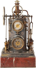 Antiques:Clocks & Watches, Circa 1885 Industrial Series Mechanical Clock Barometer....