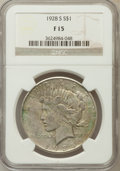 Peace Dollars: , 1928-S $1 Fine 15 NGC. NGC Census: (1/4367). PCGS Population(3/5834). Mintage: 1,632,000. Numismedia Wsl. Price for proble...