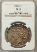 Peace Dollars: , 1926-S $1 AU53 NGC. NGC Census: (38/4854). PCGS Population(57/6419). Mintage: 6,980,000. Numismedia Wsl. Price for problem...