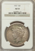 Peace Dollars: , 1927 $1 AU53 NGC. NGC Census: (27/4304). PCGS Population (55/6152).Mintage: 848,000. Numismedia Wsl. Price for problem fre...