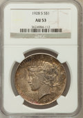 Peace Dollars: , 1928-S $1 AU53 NGC. NGC Census: (106/4077). PCGS Population(142/5349). Mintage: 1,632,000. Numismedia Wsl. Price for probl...